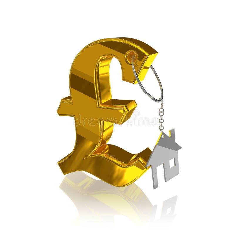 Gold_pound_home royalty-vrije illustratie