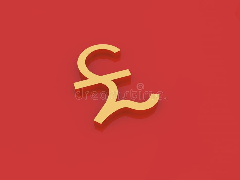 Gold pound sterling symbol on a red background. royalty free illustration