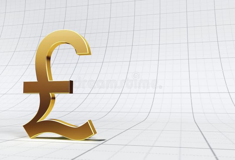 Gold Pound Symbol On Grid royalty free stock photo