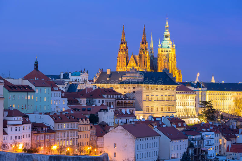 Gold Prague Castle at night, Czech Republic royalty free stock photos