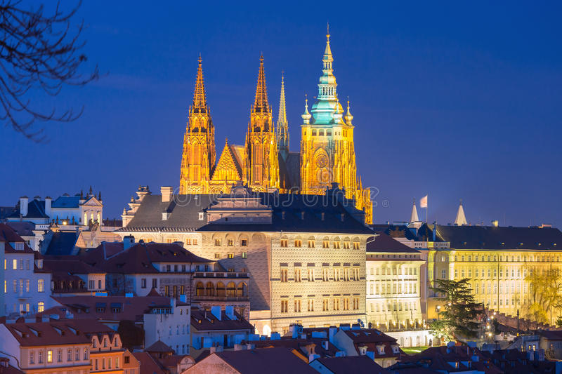 Gold Prague Castle at night, Czech Republic royalty free stock photography