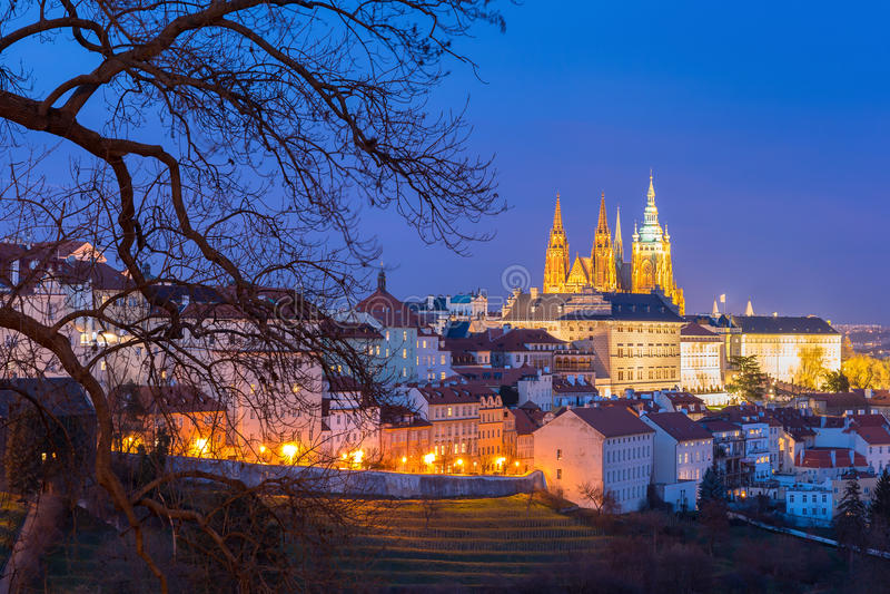 Gold Prague Castle at night, Czech Republic stock photos
