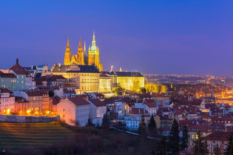 Gold Prague Castle at night, Czech Republic royalty free stock photo