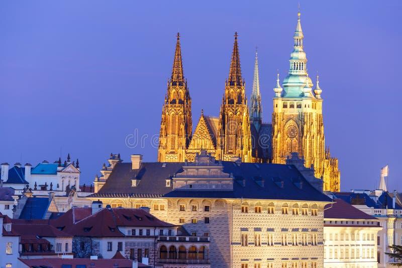 Gold Prague Castle at night, Czech Republic stock photography