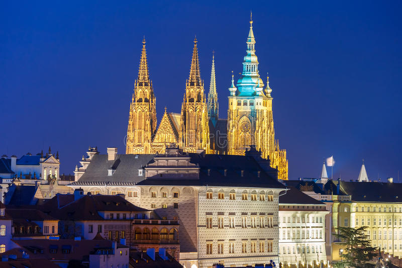 Gold Prague Castle at night, Czech Republic stock photo