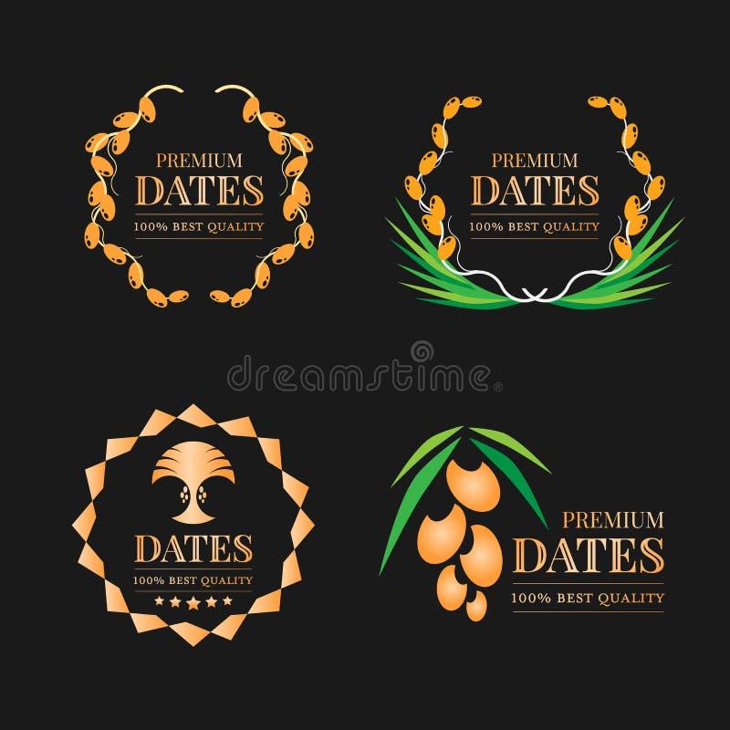 Gold Premium dates friut logo sign on black background collection vector design vector illustration