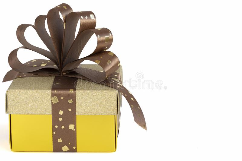 A Gold Present Box royalty free stock photo