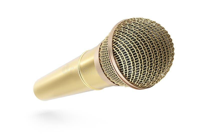Gold, prestigevolles drahtloses Mikrofon lokalisiert auf weißem Hintergrund Wiedergabe 3d lizenzfreie abbildung
