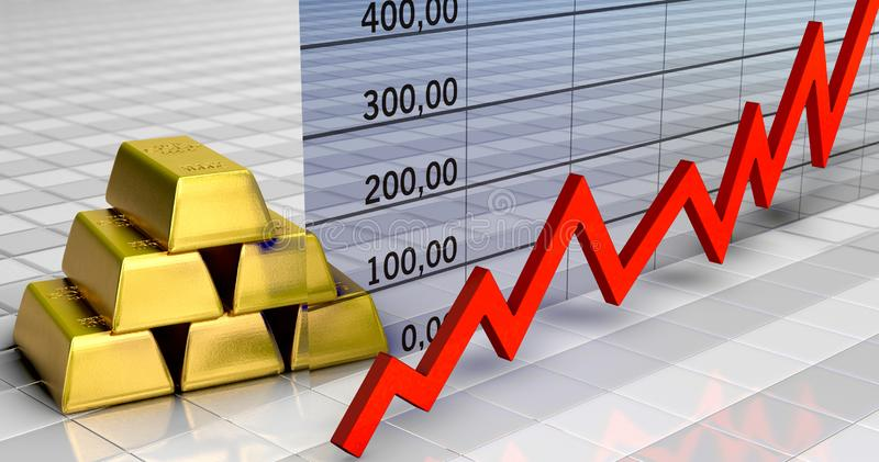 Gold price rises. A symbolic 3D illustration on the subject gold value vector illustration