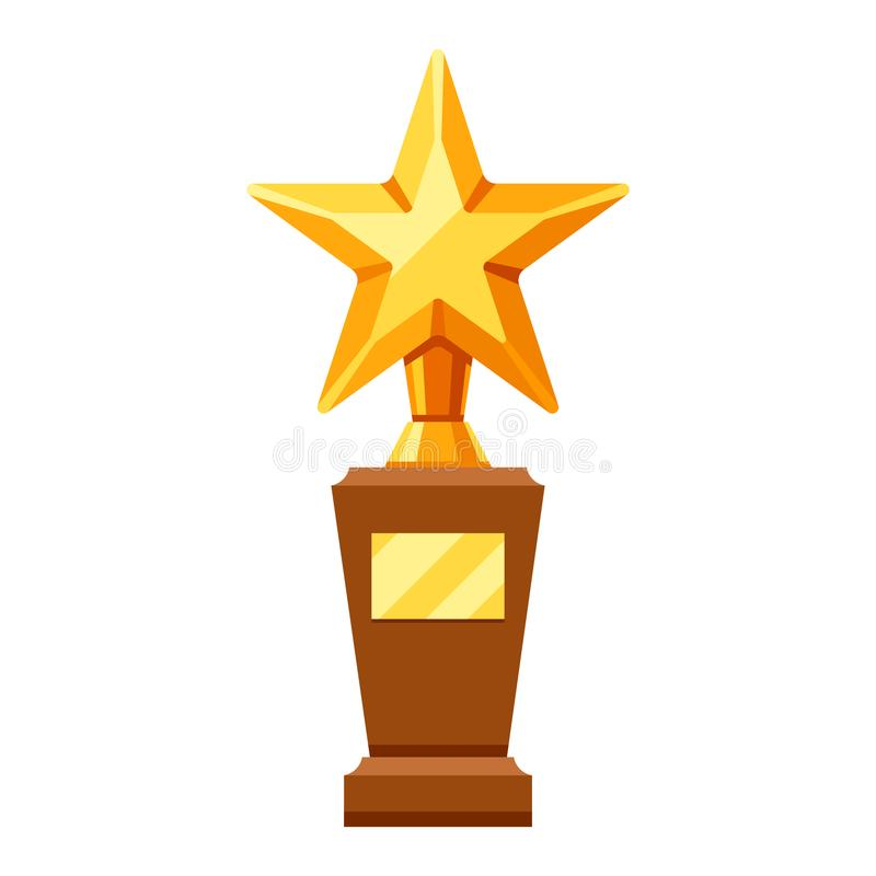 Gold prize icon with star. vector illustration