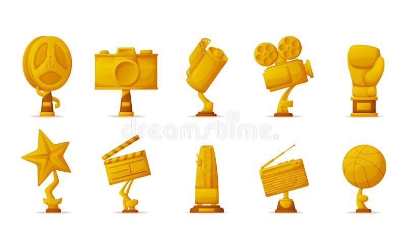 Gold Prize Trophies for Cinema, Music and Sport. Music and sport, gold prize trophies for cinema vector. Film reel and photo or video camera, star and radio royalty free illustration
