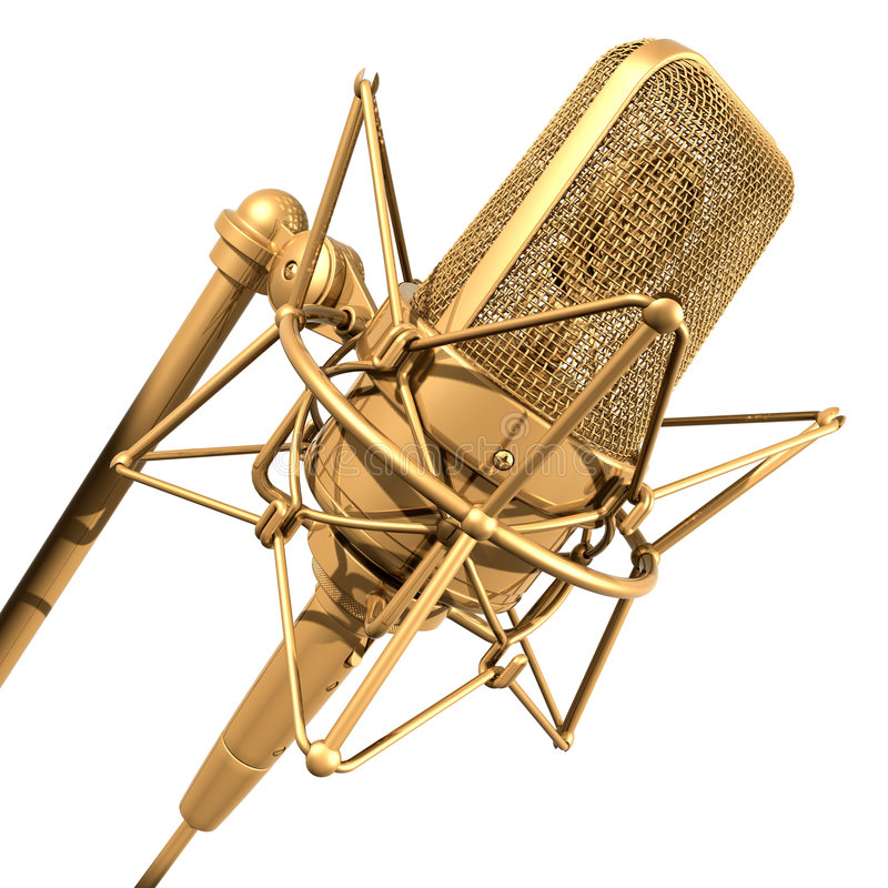 Gold professional microphone. Professional microphone on white background vector illustration