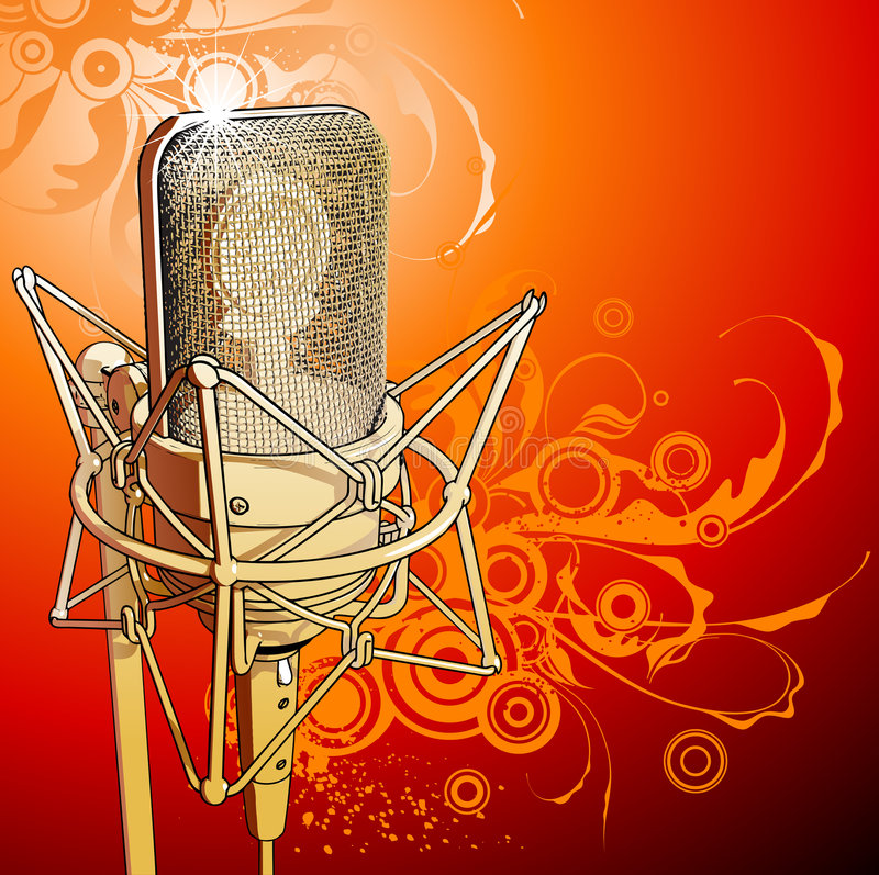 Gold professional microphone vector illustration