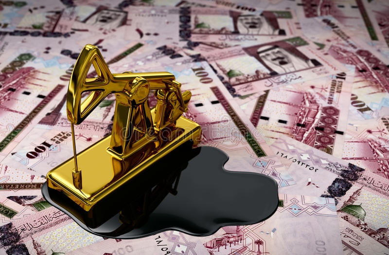 Gold Pumpjack And Spilled Oil On Saudi Riyals. 3D Scene vector illustration