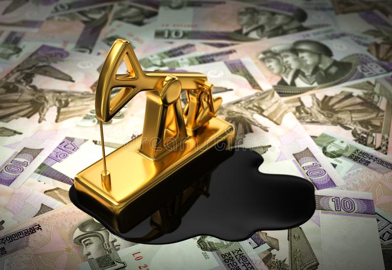 Gold Pumpjack und verschüttetes Öl auf Nordkoreaner Wons stock abbildung