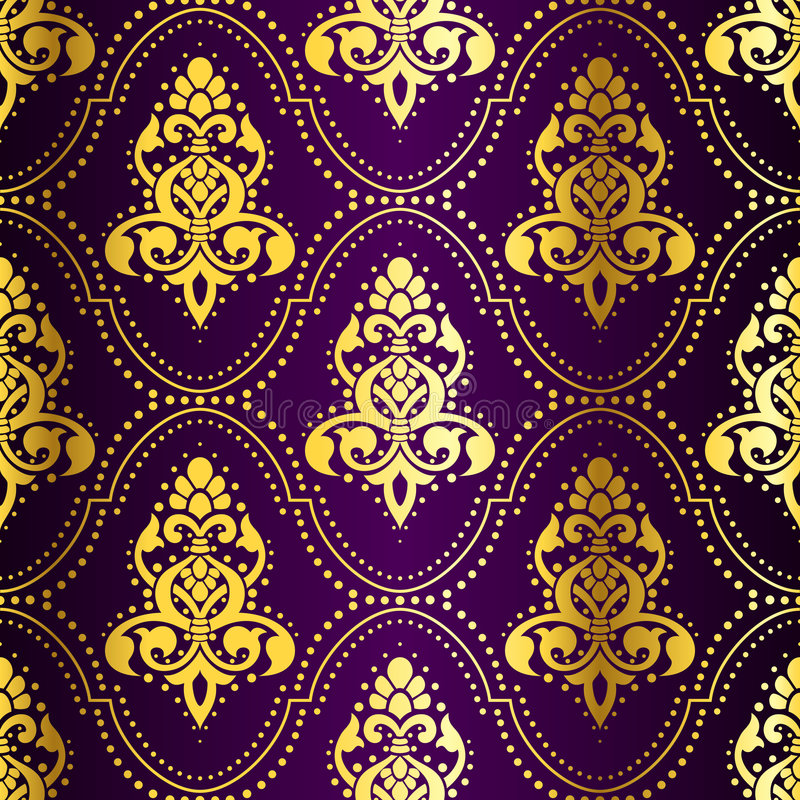 Gold-on-Purple seamless Indian pattern with dots royalty free illustration