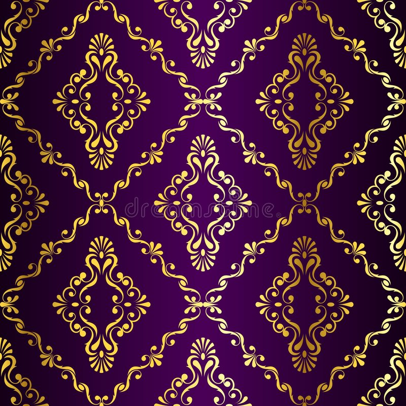 Gold-on-Purple seamless swirly Indian pattern royalty free illustration
