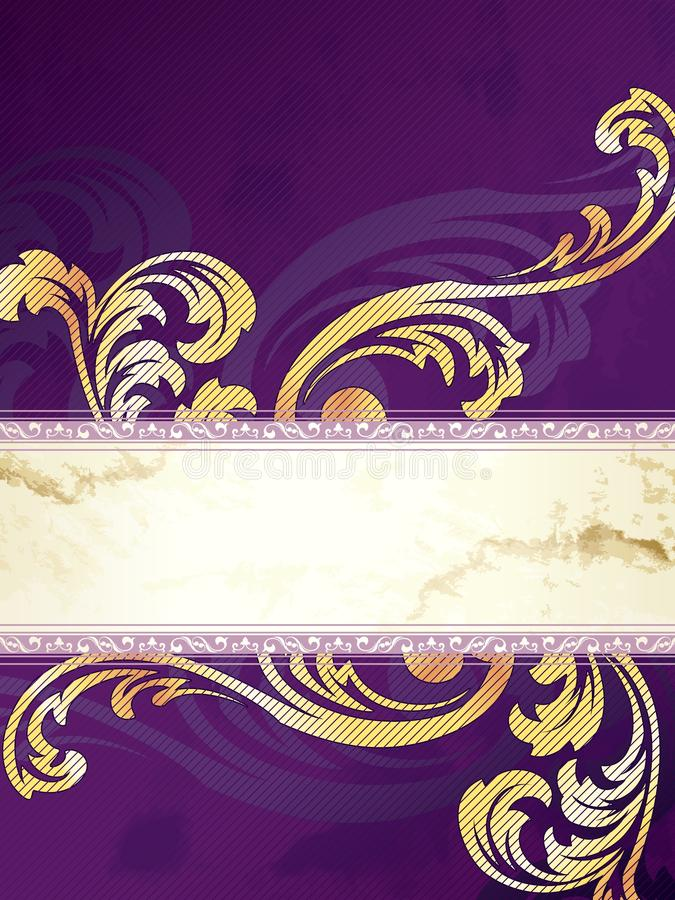 Gold and purple vertical Victorian banner royalty free illustration