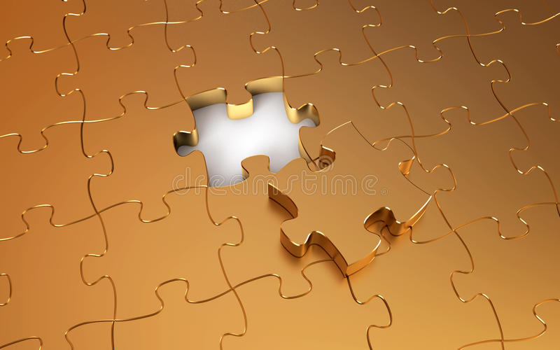 Gold puzzle vector illustration