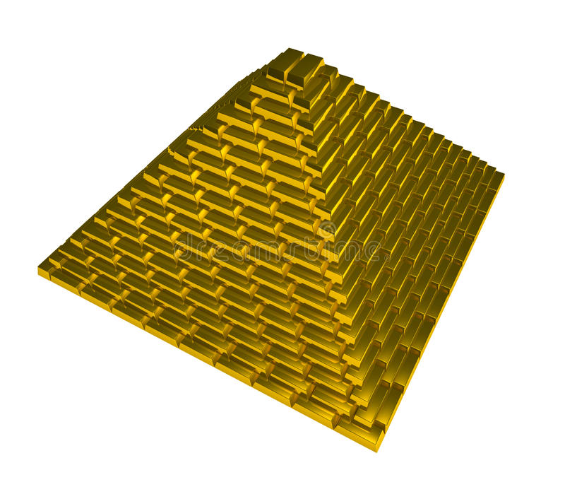 Gold pyramid royalty free stock photography
