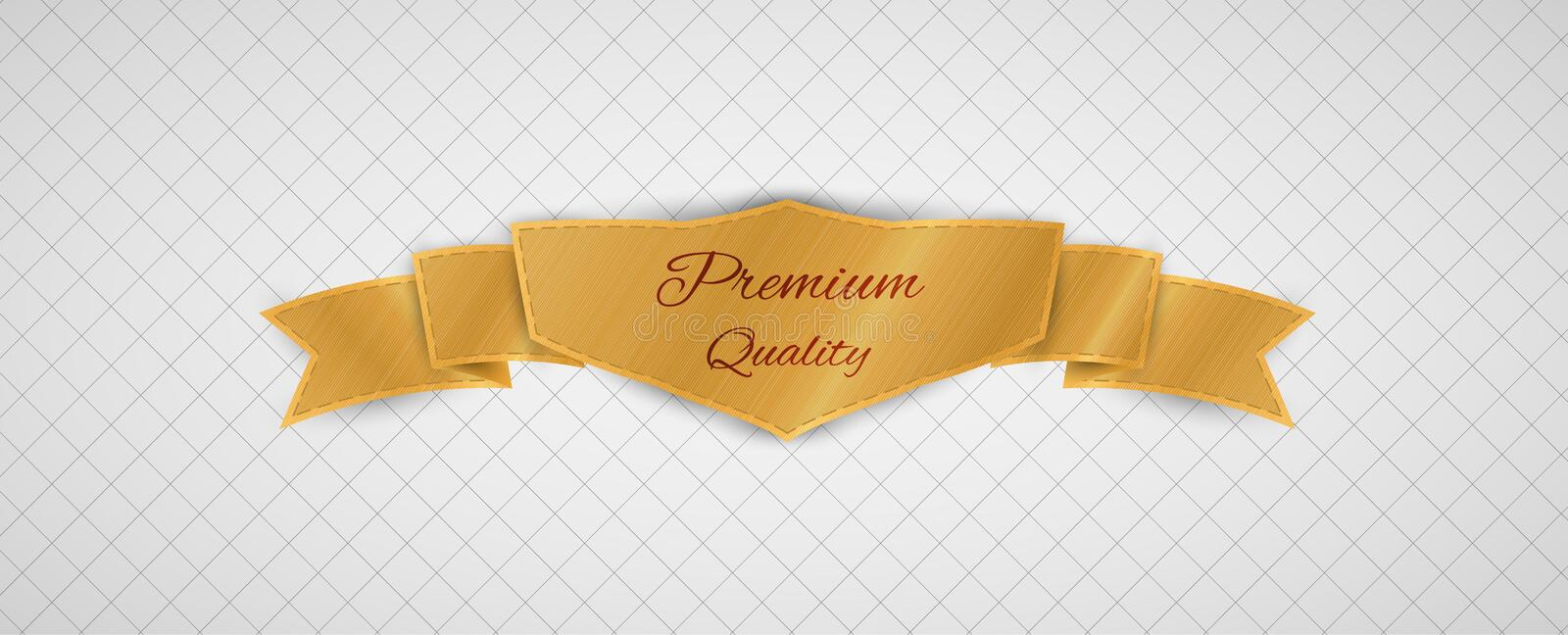 Gold quality label. Gold premium quality label on gray graph paper royalty free illustration