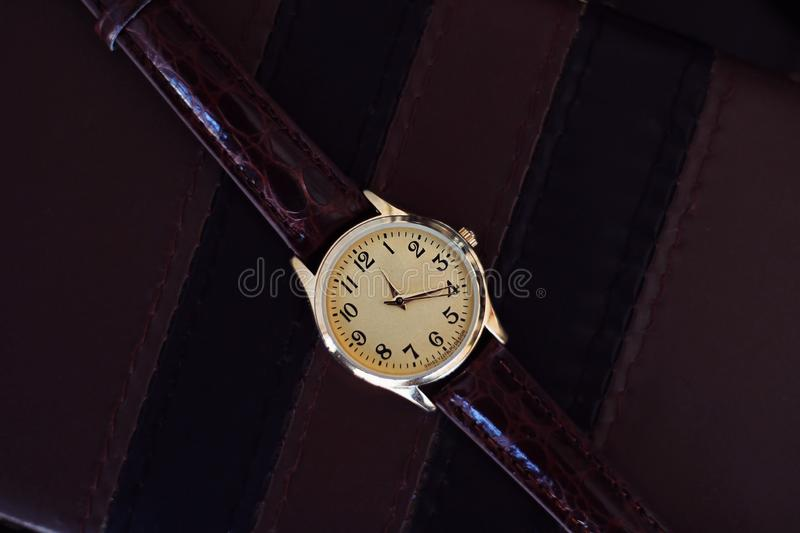 Quartz watch with leather strap. royalty free stock image