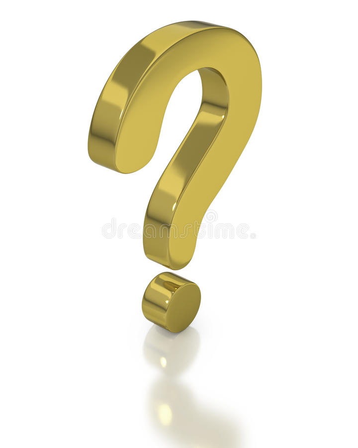 Gold question mark symbol. On white background with reflection royalty free illustration