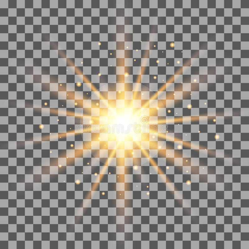 Free Gold Rays Light Effect On Transparent Background. Stock Photography - 84328492