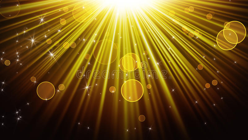 Gold rays of light and shining stars abstract background. Gold rays of light and shining stars. computer generated abstract background royalty free illustration