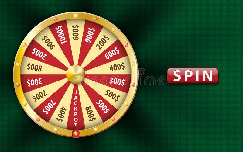 Gold realistic 3d fortune wheel, lucky game spin, luxury roulette on green background. Casino background for money. Jackpot, online play, luck, lottery stock illustration