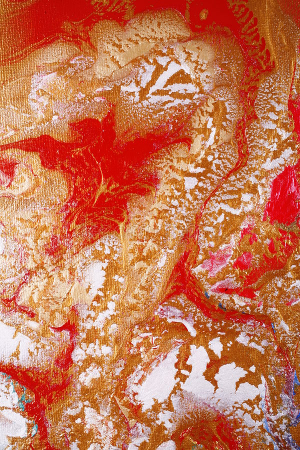 Gold and red abstract. Abstract installation of gold, white and red paint, the canvas turning while the paints are attached stock photo