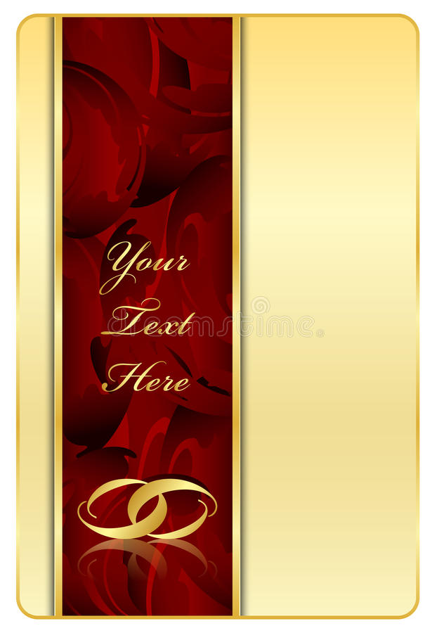 Gold & red background with rings royalty free illustration