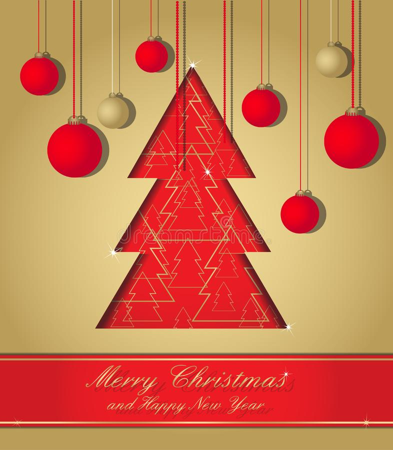 Download Gold And Red Christmas Postcard Stock Vector - Illustration of card, 2013: 22245059