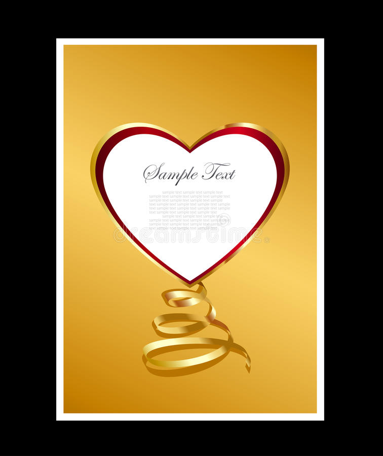 Gold and red heart background vector illustration