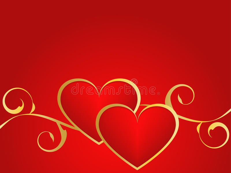 Gold and red love background stock illustration