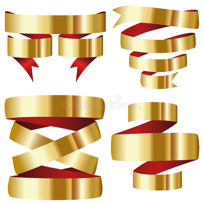 Gold red ribbon banner collection set stock illustration