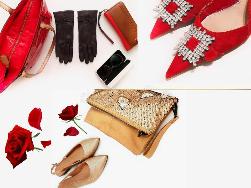Gold red shoes handbag gloves sunglasses women accessories luxury stylish fashion trends clothes copy space  background isolate. Gold red shoes handbag gloves stock photos