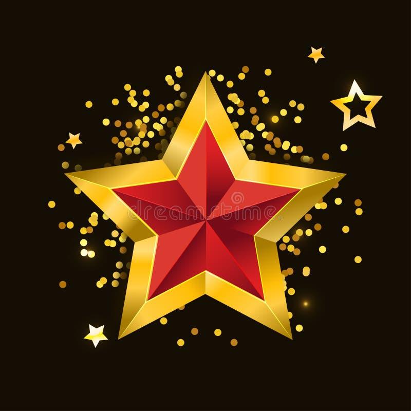 Gold red star vector illustration 3D art symbol. Icon, abstract, shiny, bright, decoration, glossy, background, celebration, design, award, shape, isolated stock illustration