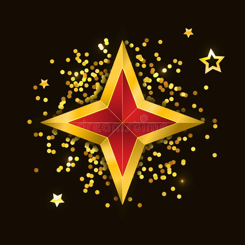 Gold red star vector illustration 3D art symbol. Icon, abstract, shiny, bright, decoration, glossy, background, celebration, design, award, shape, isolated royalty free illustration