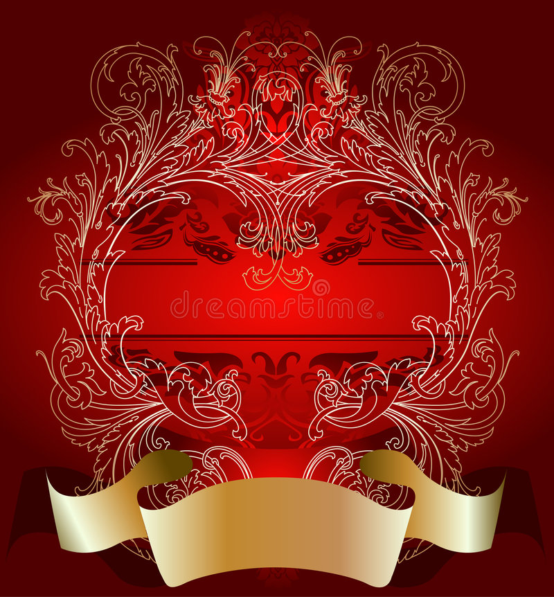 Gold On Red Valentine Day Card Background royalty free illustration