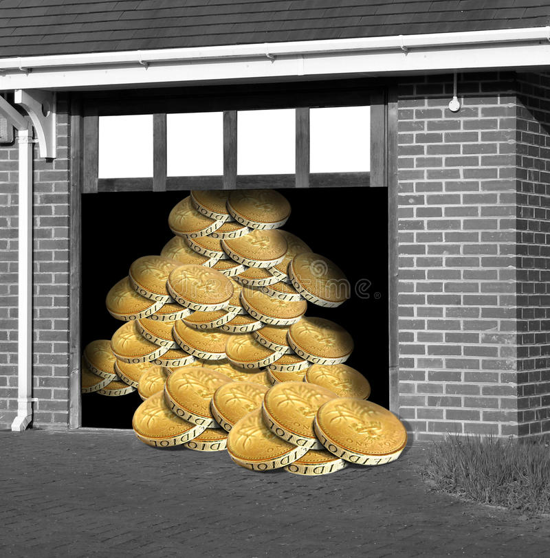 Gold reserves. Conceptual photo of stack of gold coins piled high in garage...depicting gold reserves,economy etc stock illustration
