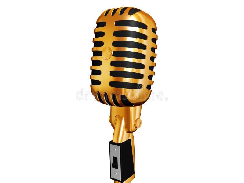 Gold retro microphone royalty free illustration