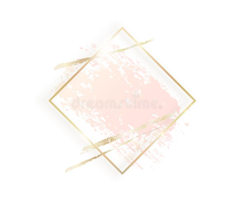 Gold rhombus frame with pastel nude pink texture, shadow, golden brush strokes isolated on white background. Geometric vector illustration