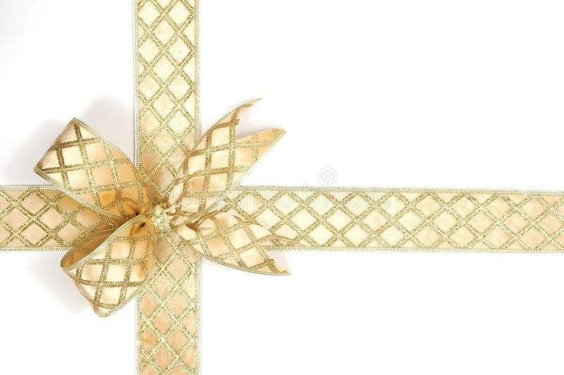 Gold ribbon stock photo