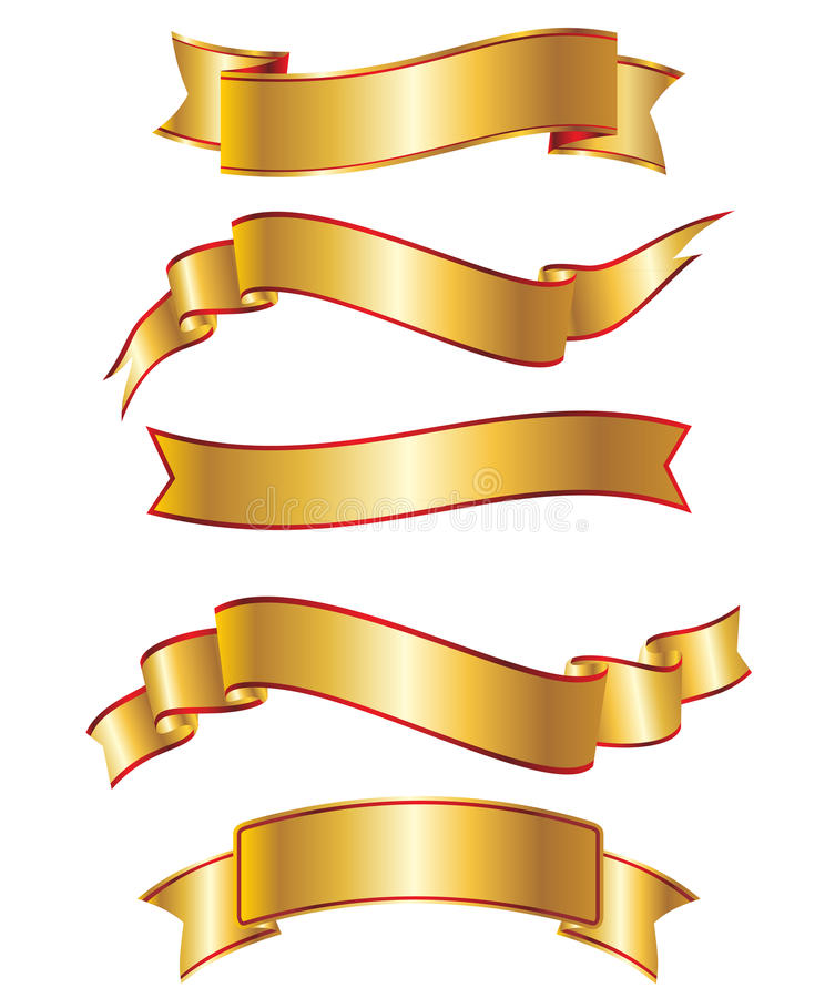 Gold ribbon banner collection set vector illustration