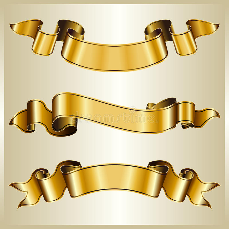 Download Gold ribbon collection stock vector. Image of nobody - 13412840