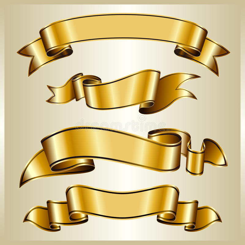 Download Gold ribbon collection stock vector. Image of shiny, revival - 13412845