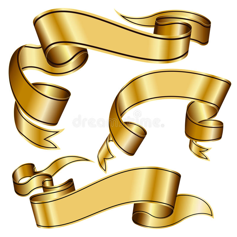 Download Gold ribbon collection stock vector. Image of fashioned - 16832908