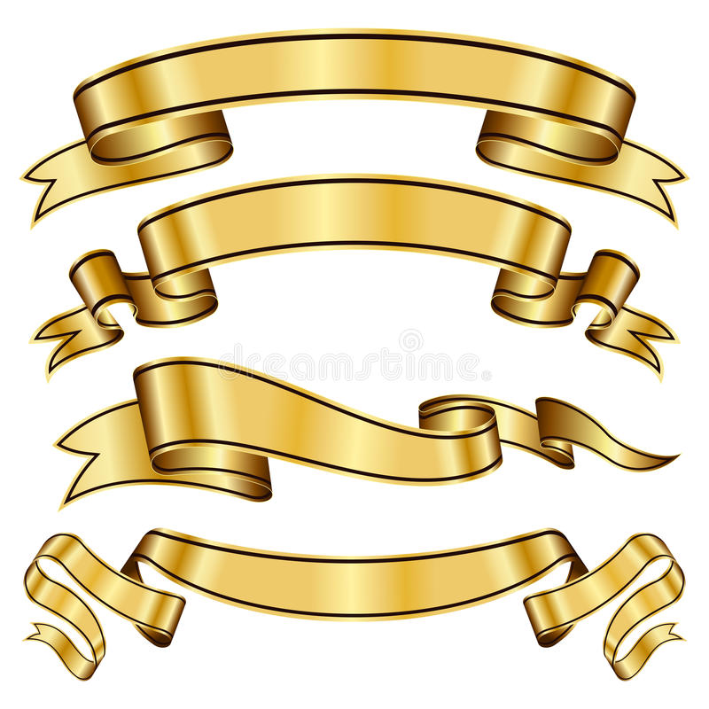 Gold ribbon collection vector illustration