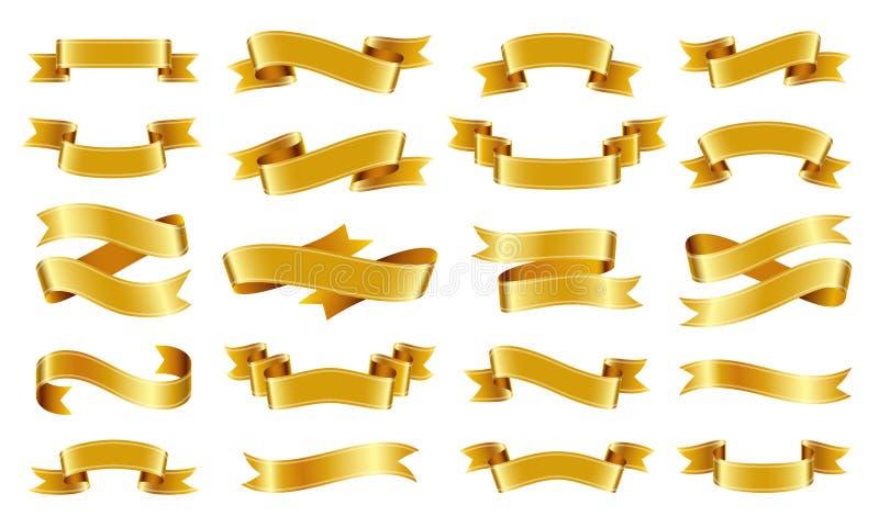 Gold ribbon Text banner flat tape icon vector set vector illustration